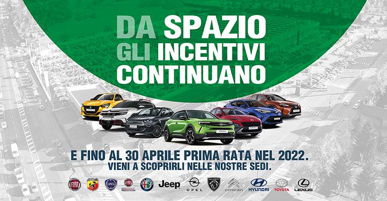 Da Spazio gli incentivi continuano E fino al 30 Aprile prima rata nel 2022.